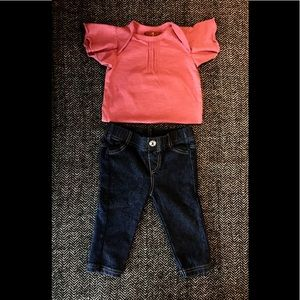 7 for all mankind jeans and flutter sleeved onesie